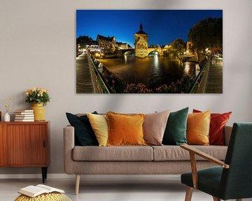 Bamberg - Panorama de l'ancien hôtel de ville à l'heure bleue