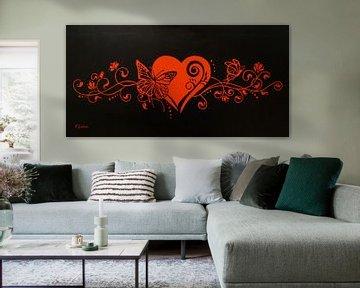Blumendeko mit Herz und Schmetterling von Marita Zacharias