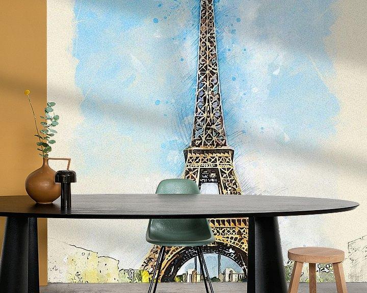 Sfeerimpressie behang: Eiffeltoren van Printed Artings