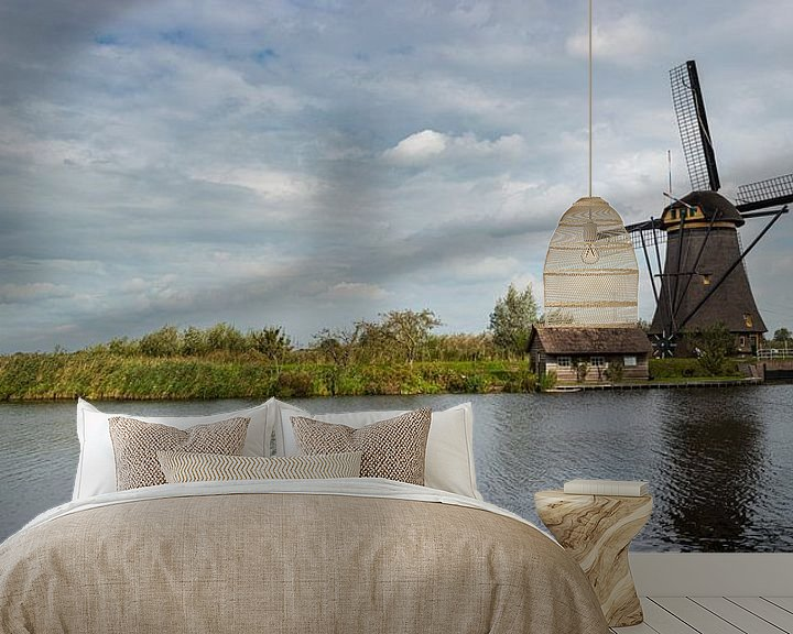 Sfeerimpressie behang: Panorama foto van de molen bij Kinderdijk van Erna Böhre
