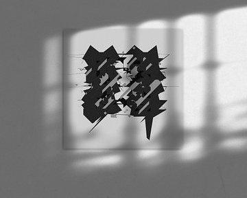Schwarz und Weiß abstrakte digitale Kunst von Marc Brinkerink