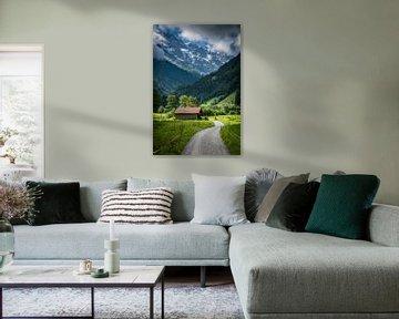 La grange de Stechelberg dans le paysage sur Fenna Duin-Huizing