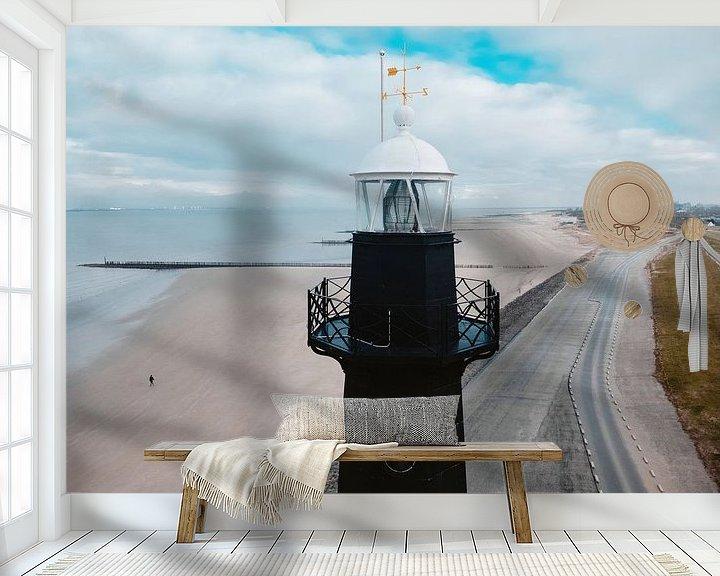 Sfeerimpressie behang: Vuurtoren Breskens van Auke Hamers