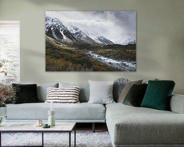 Hooker Valley Mount Cook National Park, Nieuw-Zeeland van Tom in 't Veld