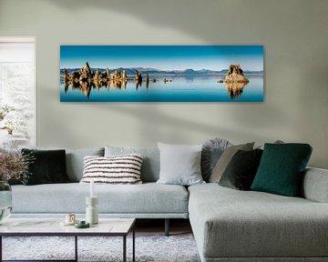 Panorama reflectie van kalksteen tufsteen formaties in Mono Lake in Californië USA van Dieter Walther