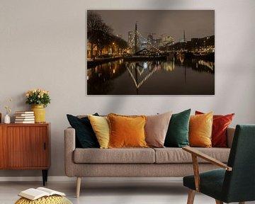 Rotterdamse haven Haringvliet in de nacht van Leontien Adriaanse