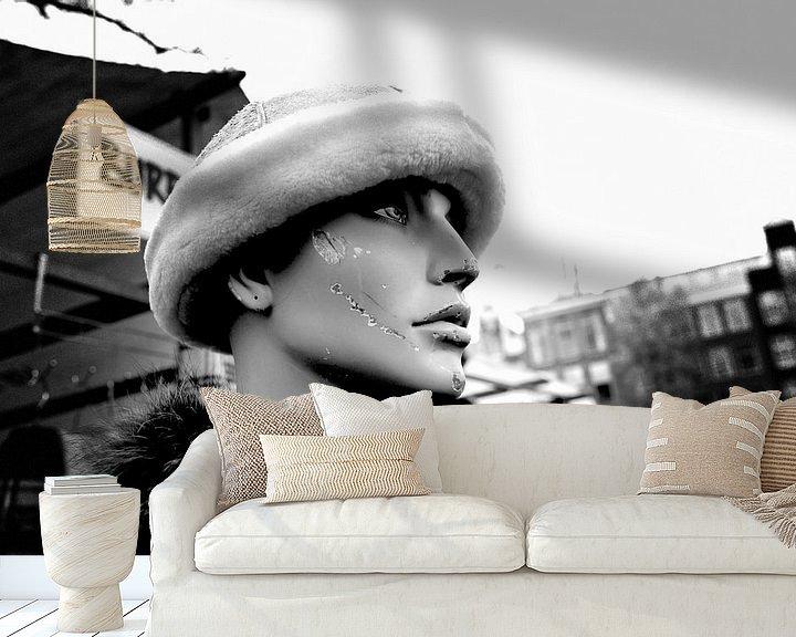Sfeerimpressie behang: Vlooienmarkt Amsterdam (zwart-wit) van Rob Blok