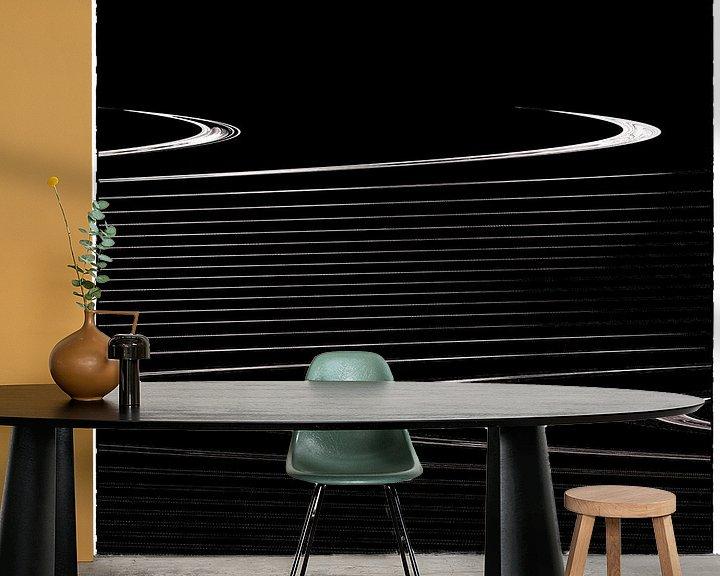 Beispiel fototapete: Geometrische Linien - gewellte Streifen auf schwarz von Christine Nöhmeier