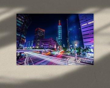 Taipei Lighttrails van Michel van Rossum