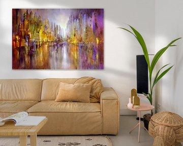 Stad aan de rivier: fantasie in goud en paars van Annette Schmucker