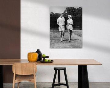 Couple on the tennis court (b/w photo)