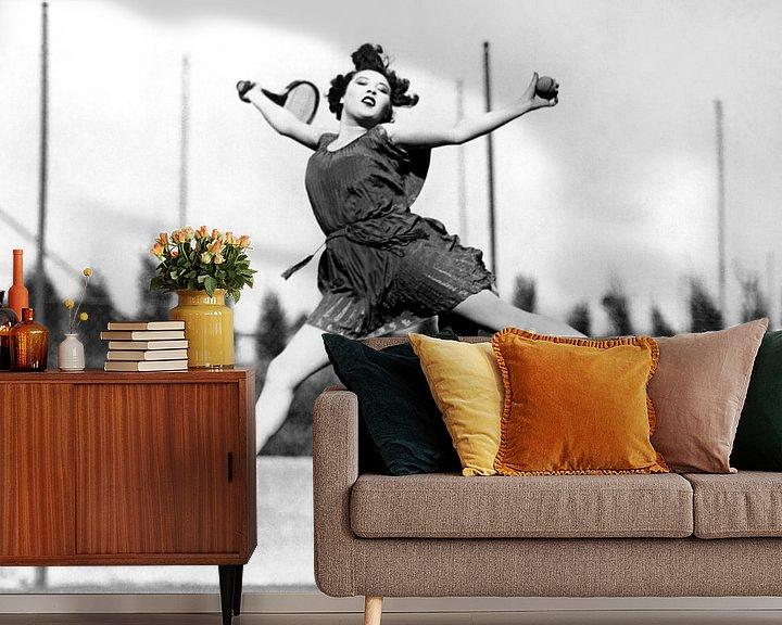 Beispiel fototapete: Leaping Tennis Woman, Hollywood, California, 1927 (b/w photo) von Bridgeman Images
