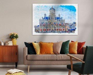 Rathaus von Delft (Aquarell)