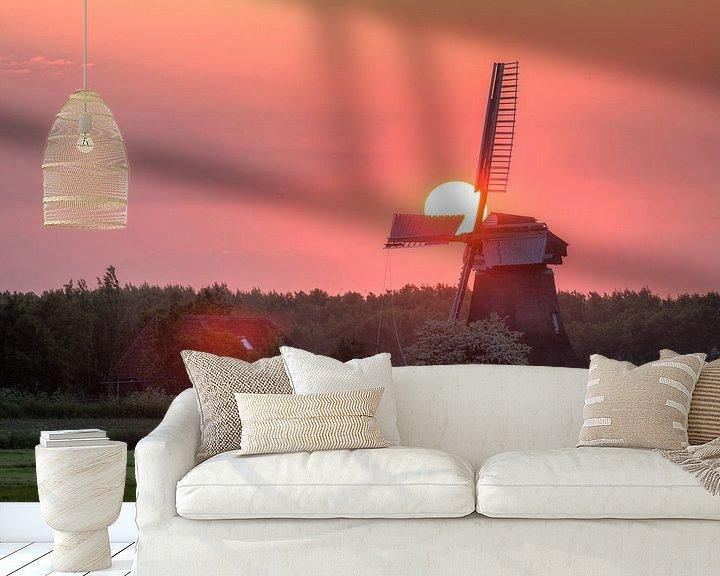 Sfeerimpressie behang: Zonsondergang bij de Noordermolen van Frenk Volt