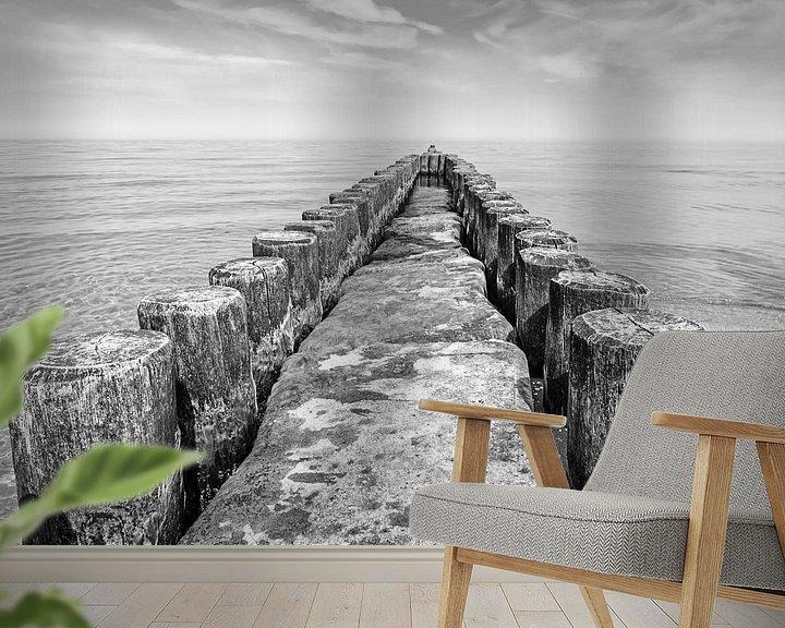 Beispiel fototapete: Buhne an der Ostseeküste schwarzweiß von Katrin May