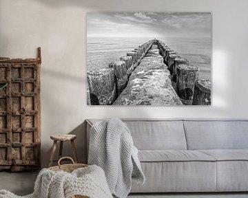 Buhne an der Ostseeküste schwarzweiß von Katrin May