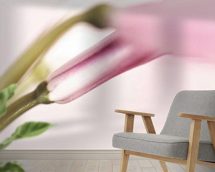 Sfeerimpressie behang: Roze nerine bloem deels in knop van Tot Kijk Fotografie: natuur aan de muur