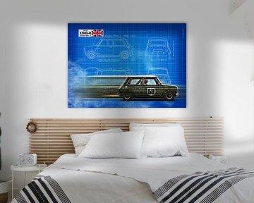 Mini Cooper S Blauwdruk van Theodor Decker