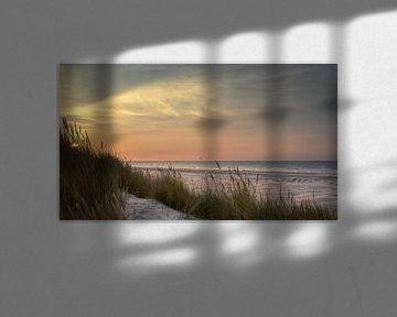 Coucher de soleil sur la mer du Nord, vu de Terschelling sur Jolanda Kleij