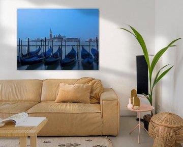 Venetië - Gondels voor San Giorgio Maggiore van Katrin May