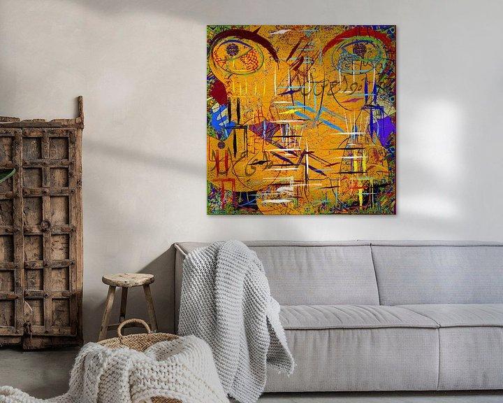 Sfeerimpressie: abstracte canvas muurschildering van EL QOCH