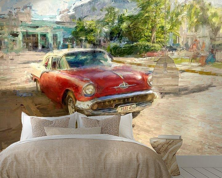 Beispiel fototapete: Roter kubanischer Oldtimer von Arjen Roos