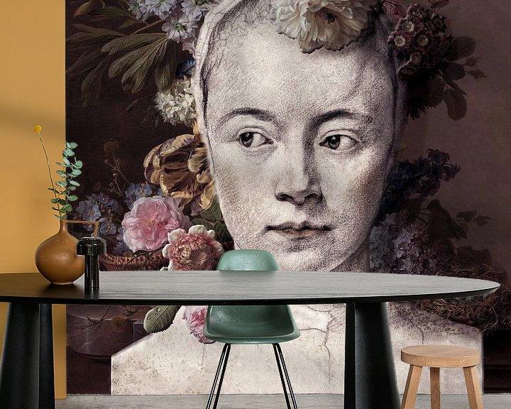 Sfeerimpressie behang: Bloemenmeisje van Affect Fotografie