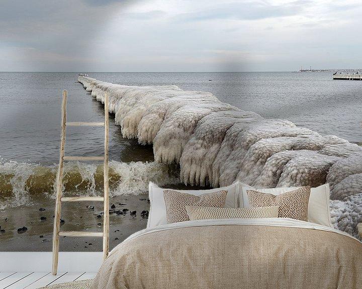 Beispiel fototapete: Vereiste Buhne in der Ostsee von Alphapics