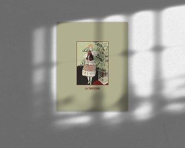 La tristesse - Historische mode, bohemian, Art Deco Print van NOONY