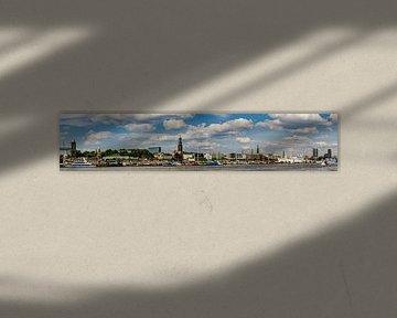 Panorama Panoramisch zicht op de haven van Hamburg met Michel en aanlegsteigers van Dieter Walther