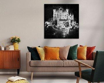 Schloss Hohenschwangau in schwarz-weiß