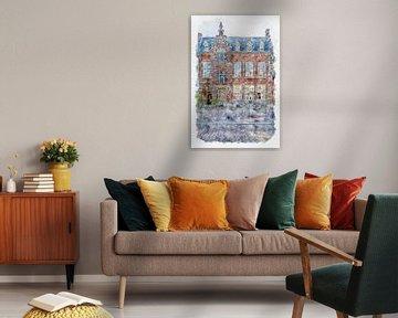 """Chinees restaurant """"De Postkoets"""" in Roosendaal (aquarel) van Art by Jeronimo"""
