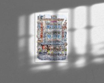 "Cafe ""Das Wappen von Roosendaal"" in Roosendaal (Aquarell) von Art by Jeronimo"
