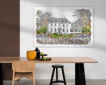 """Chinesisches Restaurant """"Vrouwenhof"""" in Roosendaal (Aquarell) von Art by Jeronimo"""