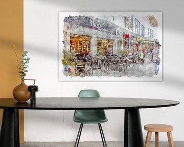 """Lunchroom """"Mitzy"""" in Roosendaal (aquarel) van Art by Jeronimo"""
