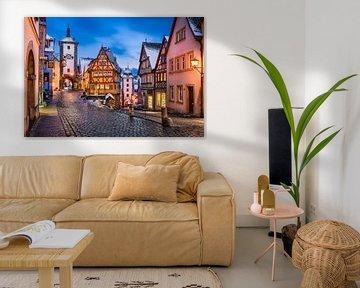Rothenburg ob der Tauber bij nacht van Michael Abid