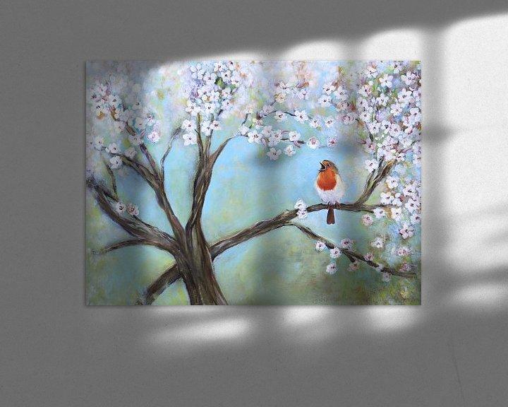 Sfeerimpressie: zingend roodborstje in de lente ( singing robin) van Els Fonteine