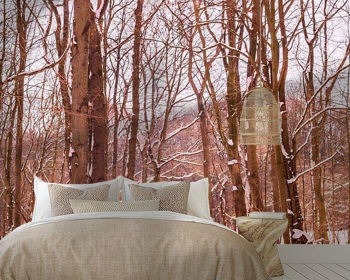 Sfeerimpressie behang: Winter Sneeuw 2021 Kralingse Plas Rotterdam van Deborah de Meijer