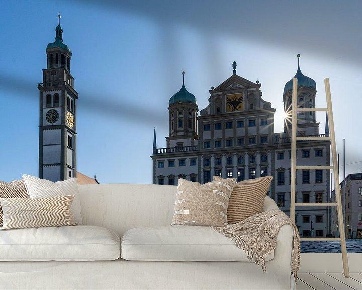 Sfeerimpressie behang: Stadhuis en Perlachturm in Augsburg van Melanie Jahn