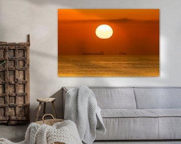 Zonsondergang met vrachtschip van videomundum