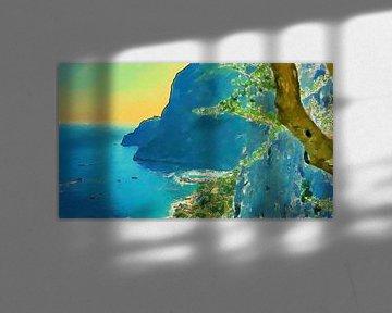Italië - Bergen Kliffen Kustlijn Capri - Schilderij van Schildersatelier van der Ven