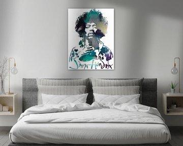 Jimi Hendrix Abstrakt Porträt Schablone Kunst von Art By Dominic