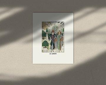 Le jardin - Art deco 1920s fashion print, Natur, Park, Spaziergang, Skulpturen von NOONY