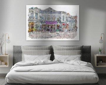 "Restaurant Dakota'z"" in Roosendaal (Aquarell) von Art by Jeronimo"