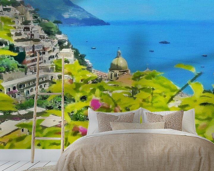 Sfeerimpressie behang: Amalfikust - Uitzicht op de Zee bij Positano - Schilderij van Schildersatelier van der Ven