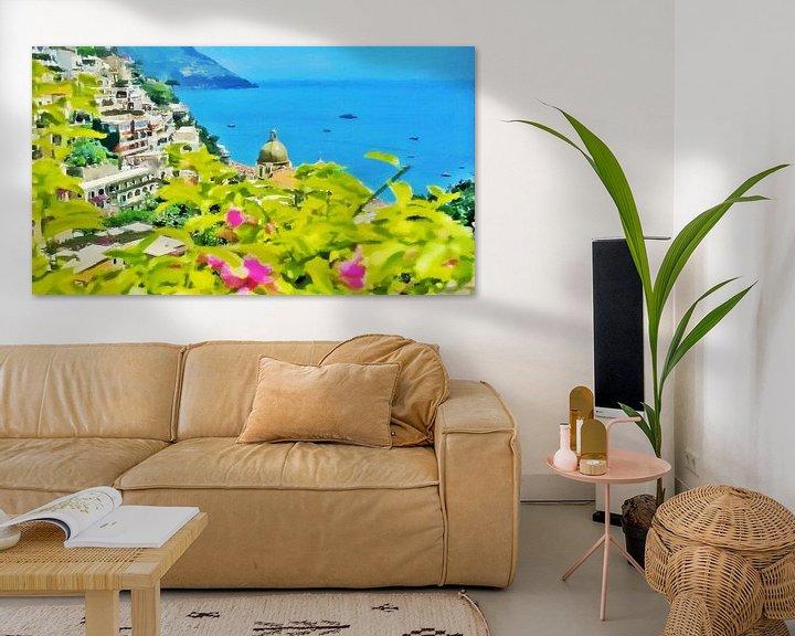 Impression: Côte d'Amalfi - Vue sur la mer à Positano - Peinture sur Schildersatelier van der Ven