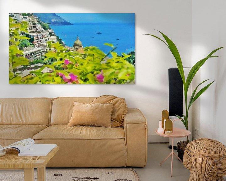 Sfeerimpressie: Amalfikust - Uitzicht op de Zee bij Positano - Schilderij van Schildersatelier van der Ven