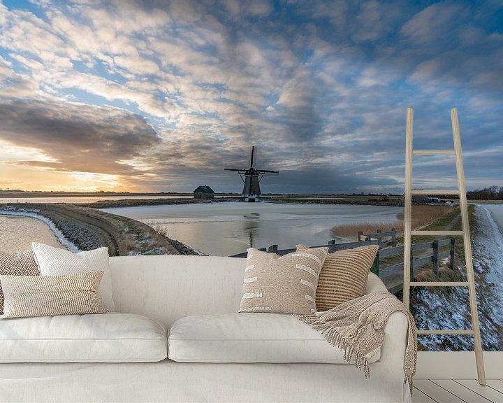 Sfeerimpressie behang: Texel winterlandschap - Molen het Noorden van Texel360Fotografie Richard Heerschap