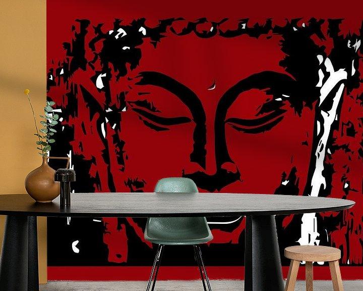 Beispiel fototapete: Buddha digitale Zeichnung rot und weiß von sarp demirel