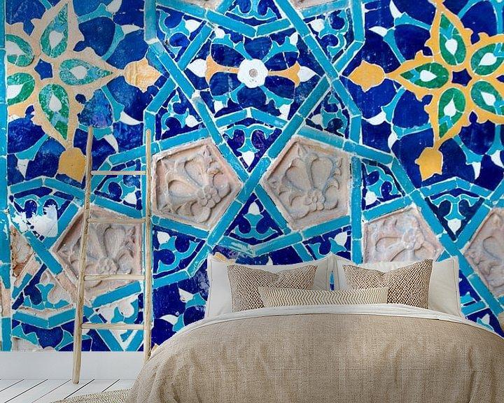 Impression: Mur en mosaïque bleu azur de la mosquée Juma à Tbilissi, Géorgie sur WorldWidePhotoWeb